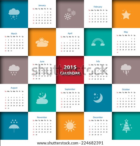 2015 calendar template with