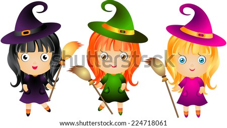 set of little cute witch with
