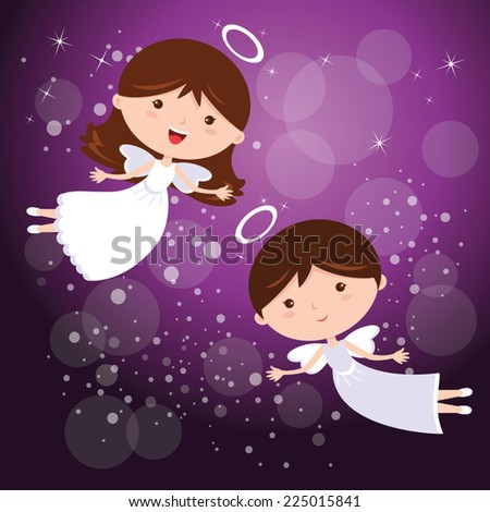angels with purple sky vector