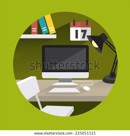 table office computer vector