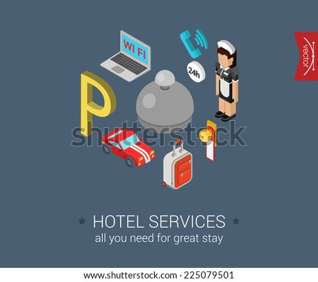 hotel service icons flat 3d