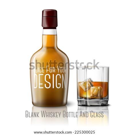 blank realistic whiskey bottle