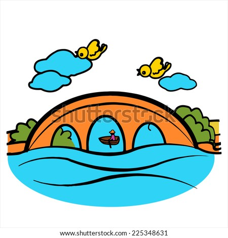 cartoon bridge  color