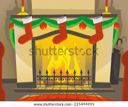 fireplace lit on a christmas