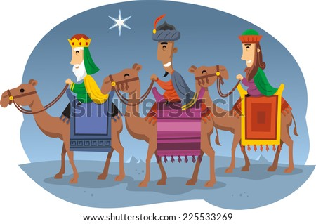 three wise kings riding camels
