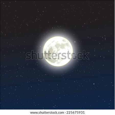 moon on a starry dark blue
