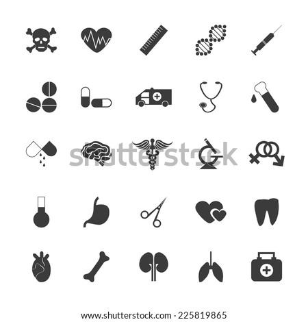 medical icons set  black