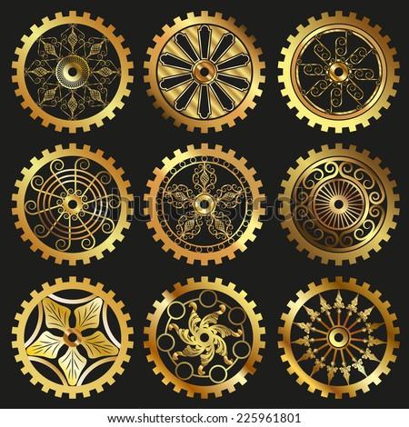 vector golden gears set in the