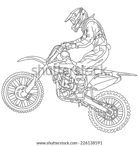silhouettes motocross rider on