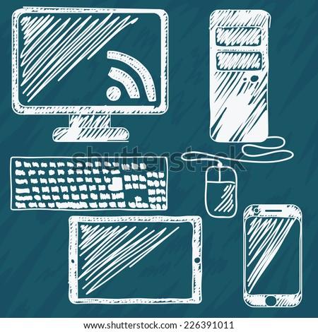digital devices hand drawn set