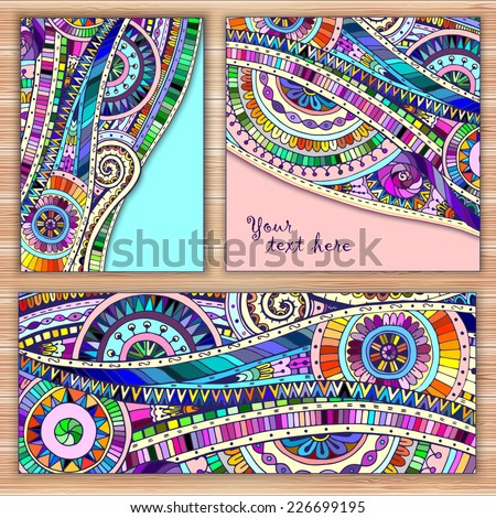 set of three abstract doodle