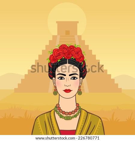 mexican woman on a pyramid maya