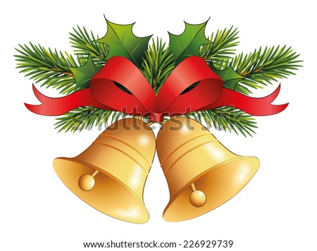 gold christmas bell with red