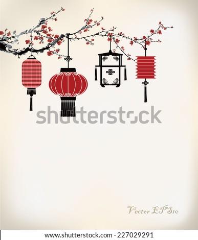 chinese lantern hang on cherry