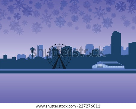 seattle silhouette skyline with