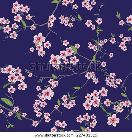 chinese sakura blue seamless