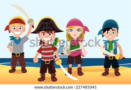 four pirate kids with swords