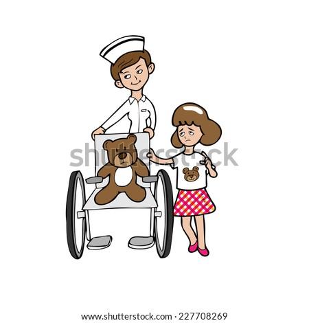 nurse wheelchair bear girl