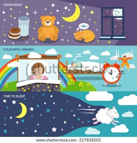 sleep time banners set with