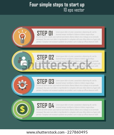 ui for start up 1 2 3 4 step