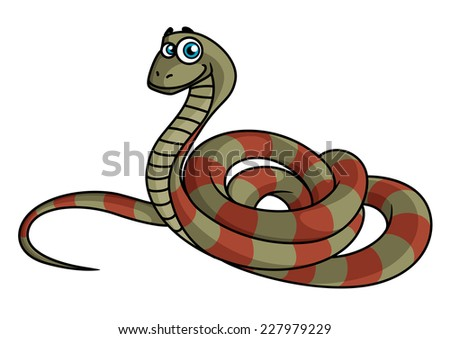 cartoon striped snake in green