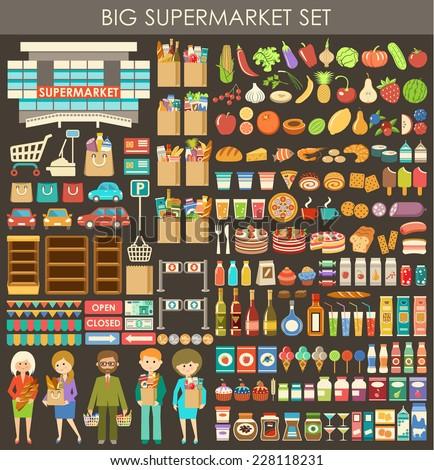 big supermarket set vector