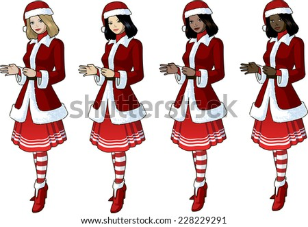 young woman in red christmas