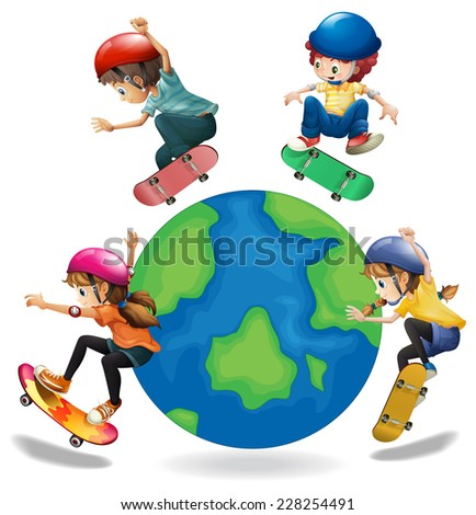 kids skating around the earth