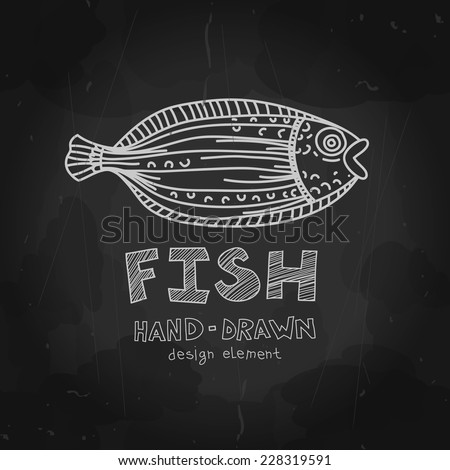 hand drawn flounder fish with