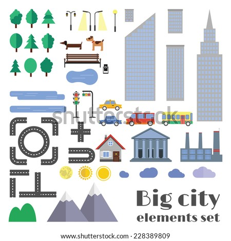 vector city element set for