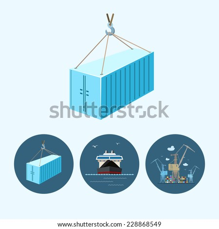 container hanging on crane hook