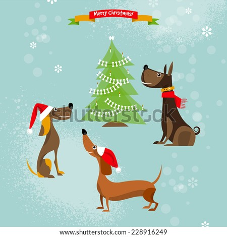 christmas for dogs vector