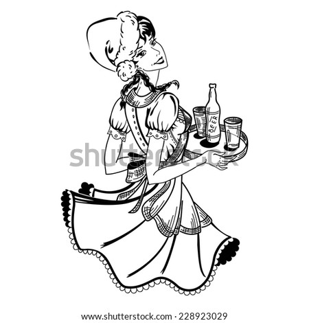 vector illustration of waitress