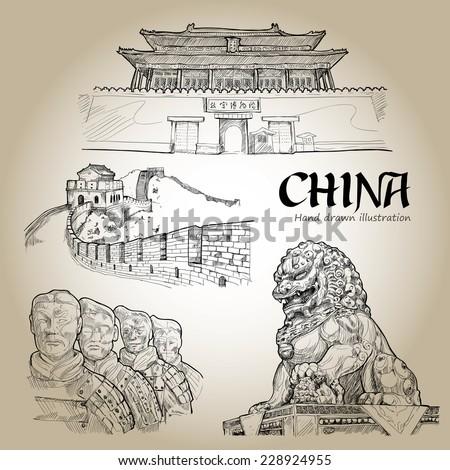 china hand drawn travel