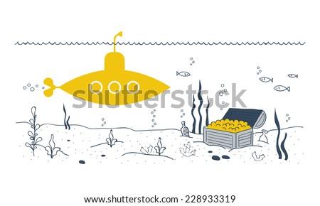 flat design yellow submarine