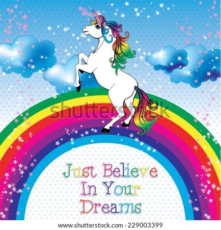 unicorn with a rainbow vector