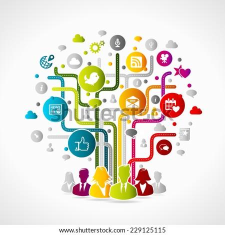 social media concept colorful