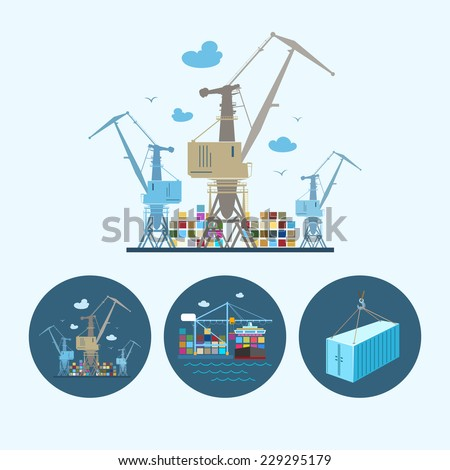 cranes with container in dock
