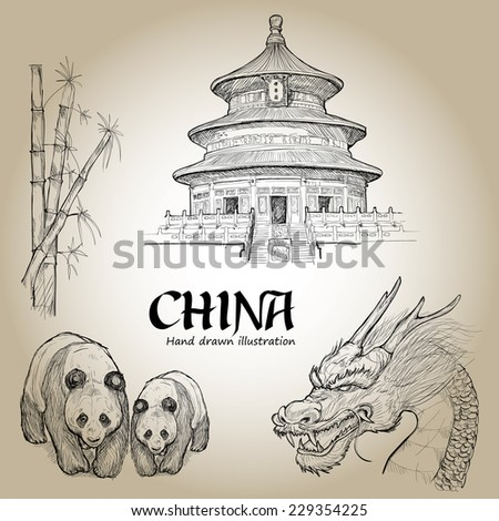 hand drawn  set of china