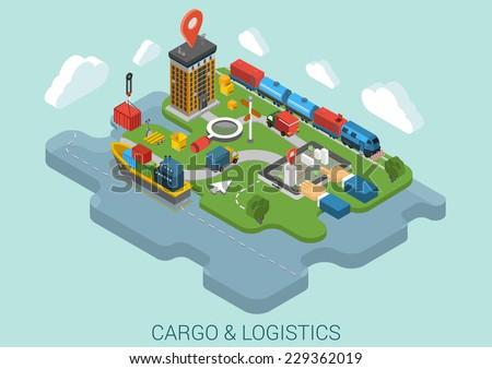 flat 3d isometric cargo