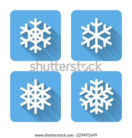 flat snowflake icons vector
