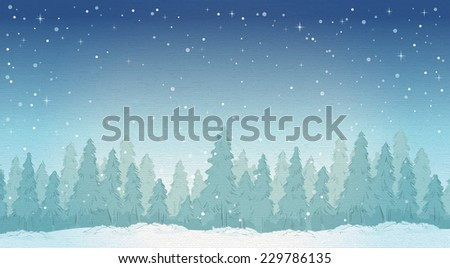 vintage winter night forest