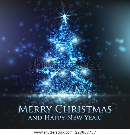 shining christmas tree on blue