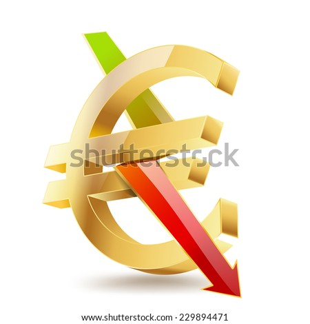 euro golden symbol with falling