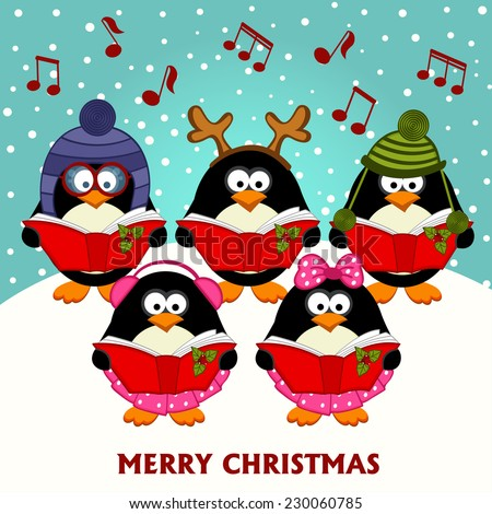 christmas choir penguins