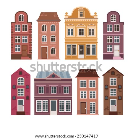vector set of houses in the