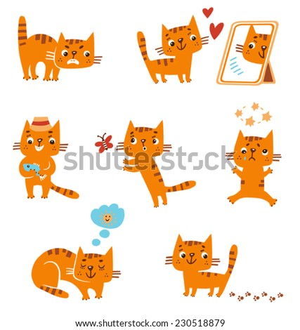 funny red kitten in different