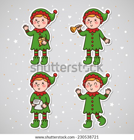stickers with christmas elf