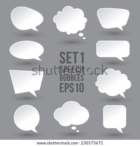 white modern speech bubbles set