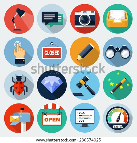 flat icons with long shadow